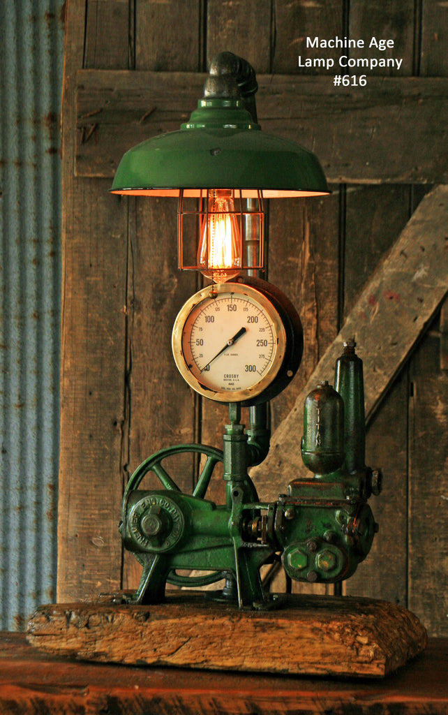Antique Steampunk Industrial Steam Gauge Lamp Well Pump