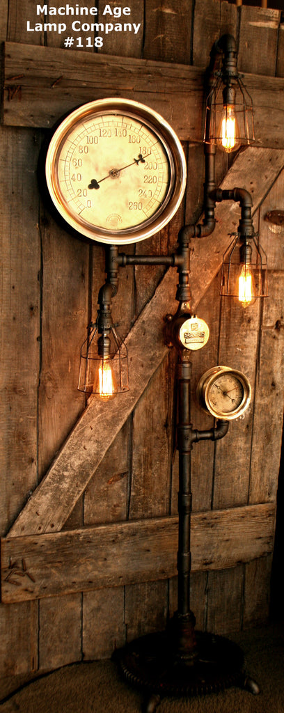 Steampunk Floor Lamp Machine Age Steam Gauge Lamp