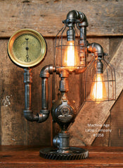 Steampunk Industrial Steam Gauge Lamp, Kewanee ILL #1058 - SOLD