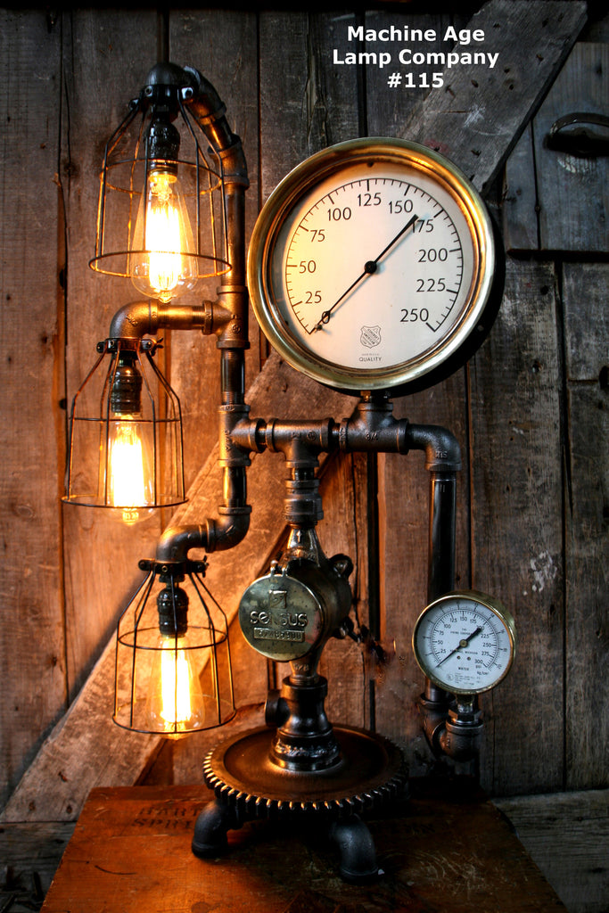 Steampunk Lamp, By Machine Age Lamps, Brass Steam Gauge #115 SOLD