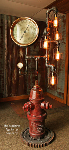 Steeampunk Antique Industrial Floor Lamp, Fire Hydrant - #825