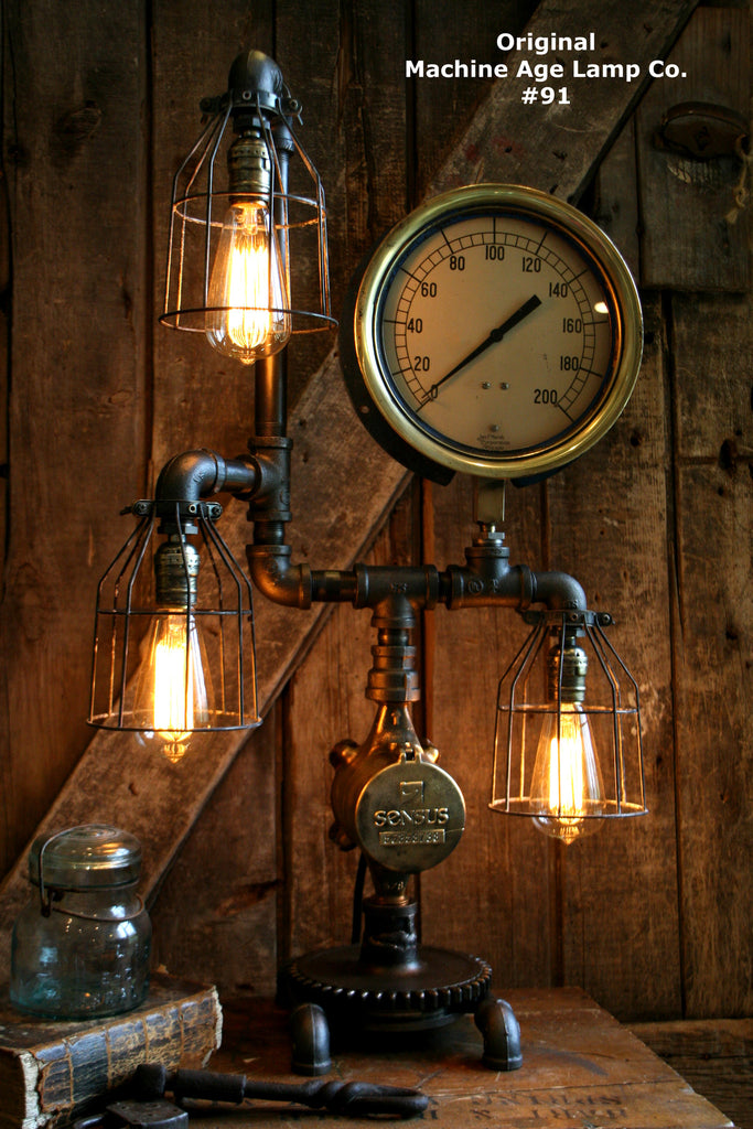 Steampunk Lamp, Machine Age Lamp, Steam Gauge #91 - SOLD