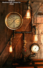Steampunk Lamp, Machine Age Lamp, Nautical Steam Gauge #105 - SOLD