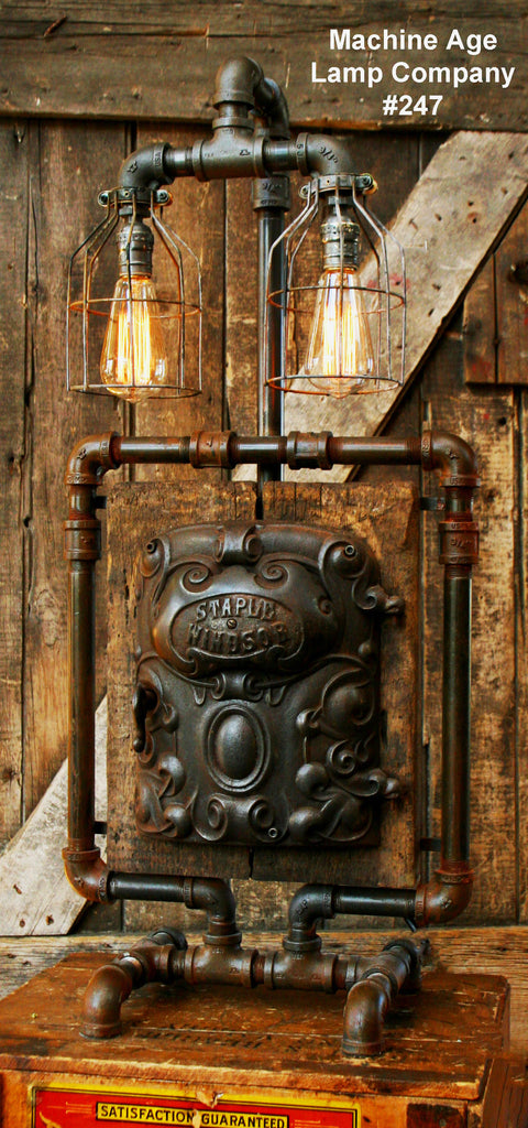 Steampunk Industrial Lamp Antique Iron Door And Barn Wood