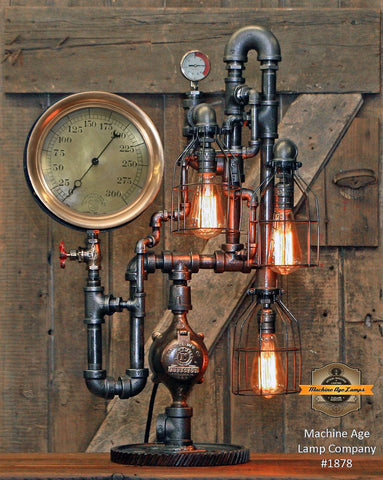 Steampunk Industrial / Antique Steam Gauge / New York / Gear / Ashcroft / Lamp #1878