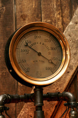 "Steampunk Lamp, Antique 10"" Steam Gauge and Gear Base #388 - SOLD"