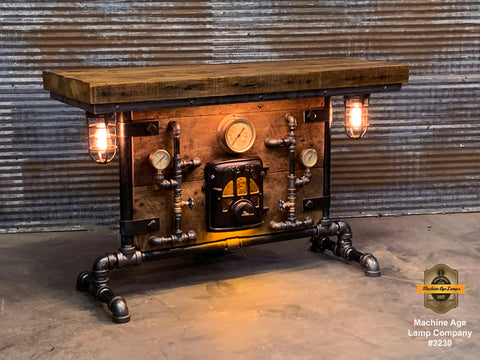 Steampunk Industrial Table / Pub, sofa console / Antique Furnace Door / Steam Gauge / Barnwood / Table #3230