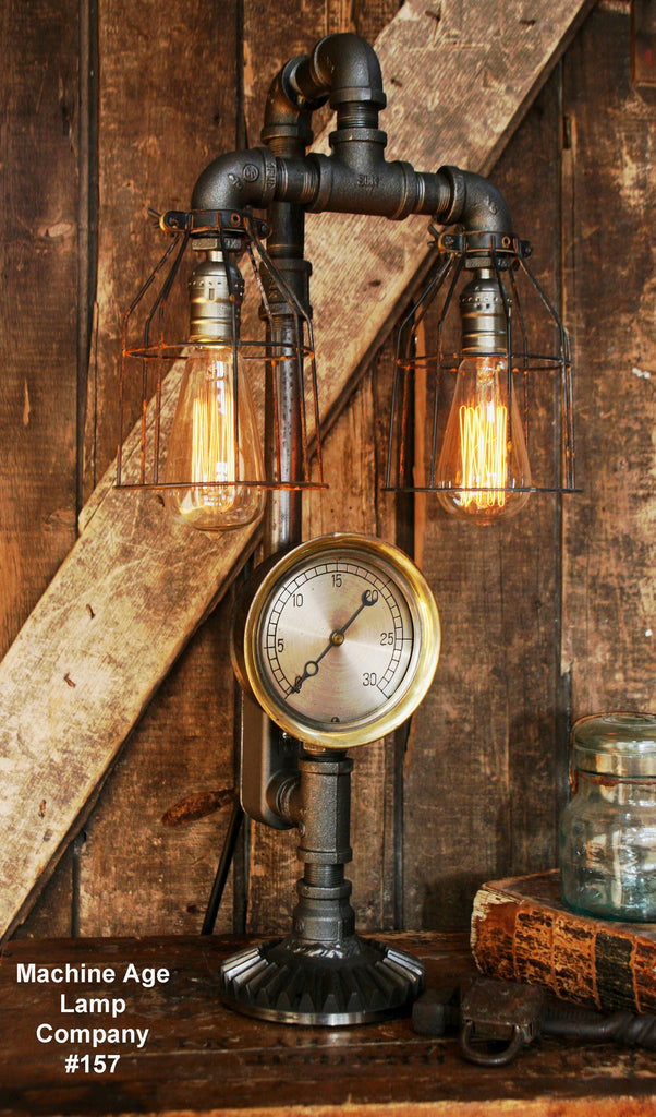 Steampunk Industrial Lamp, Steam Gauge and Gear Base #157