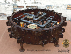 Steampunk Industrial / Antique Farm Tractor farm wheel coffee table #2030