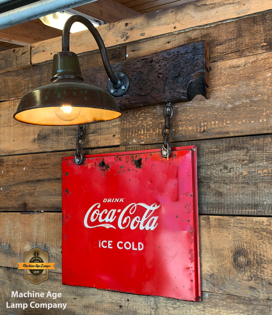 Steampunk Industrial Wall Sconce / Antique Coke Cooler Sign  / Lamp #2730