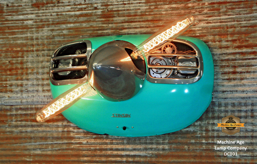 Steampunk Industrial / Aviation / Turquoise color  / Wall Light Lamp / Stinson / Airplane Cowling / Lamp #dc101