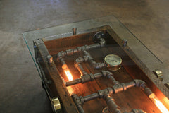 Steampunk Industrial Table / Coffee / Barn Wood / Gauges / Glass / Table #1750