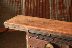Antique Steampunk Industrial Boiler Door Table Stand, Reclaimed Wood Top - #668 - Sold