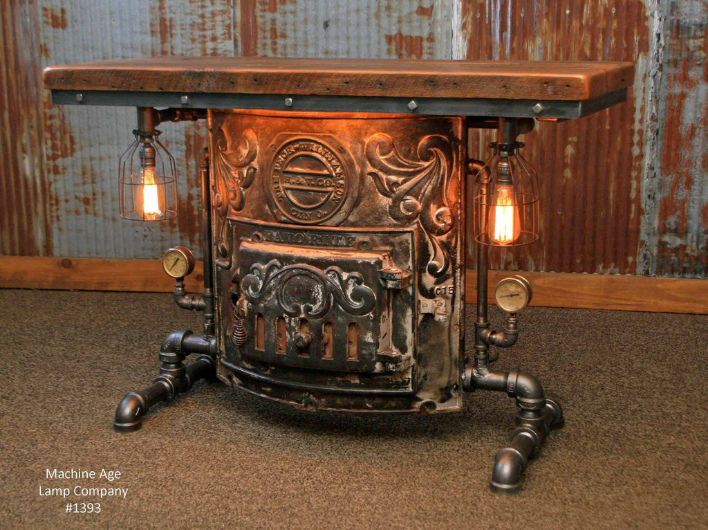 Ste&unk Industrial Antique Stove Boiler Door Table Barn wood Top #1393 - SOLD & Steampunk Industrial Antique Stove Boiler Door Table Barn wood Top #1