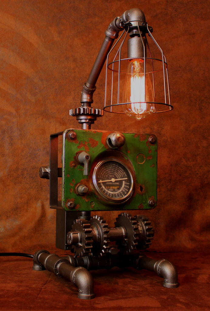 Steampunk Lamp, John Deere Tractor Dash and Gears Farm - CC13 sold