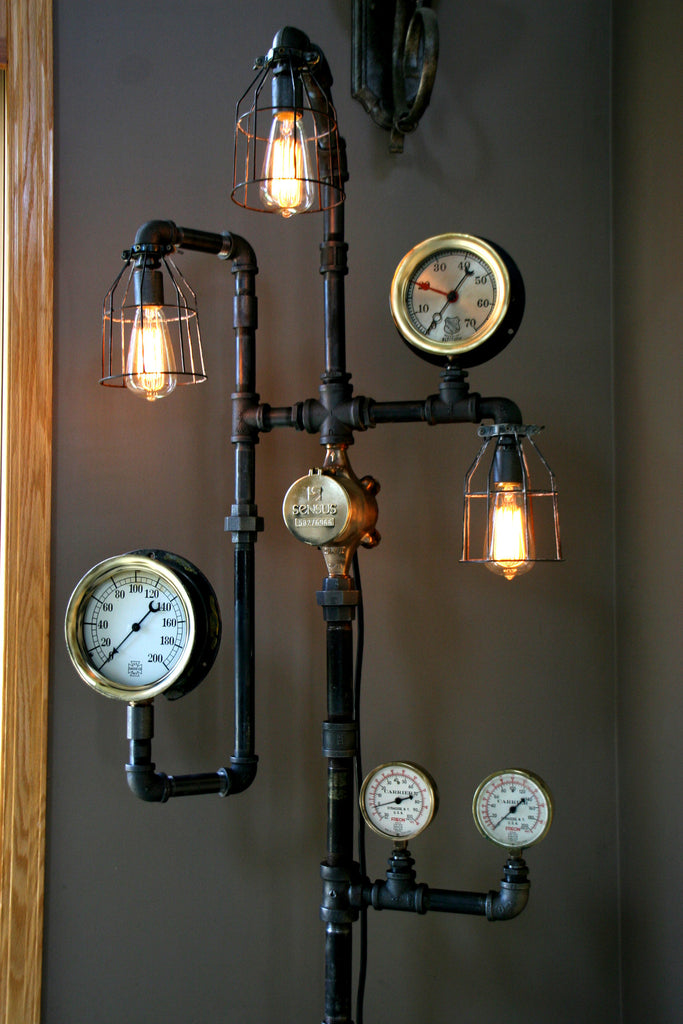 Steampunk Industrial Steam Gauge Floor Lamp  60