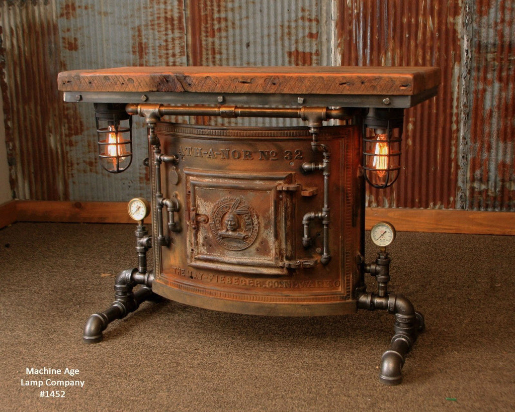 Steampunk Industrial Antique Boiler/Stove Door Table / Barn Wood / #1452 sold
