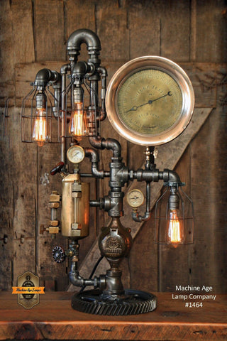 Steampunk Industrial Lamp / Antique Oiler and Steam Gauge - #1464 sold
