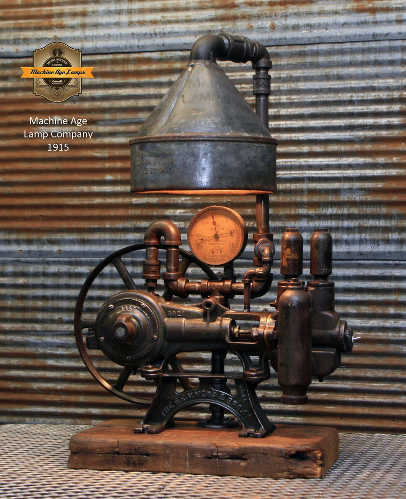 Industrial Light Fuel Oil: Steampunk Industrial / Antique Water Pump / Barn Wood