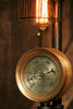 Steampunk Industrial Steam Gauge Lamp, Gear Base #1276