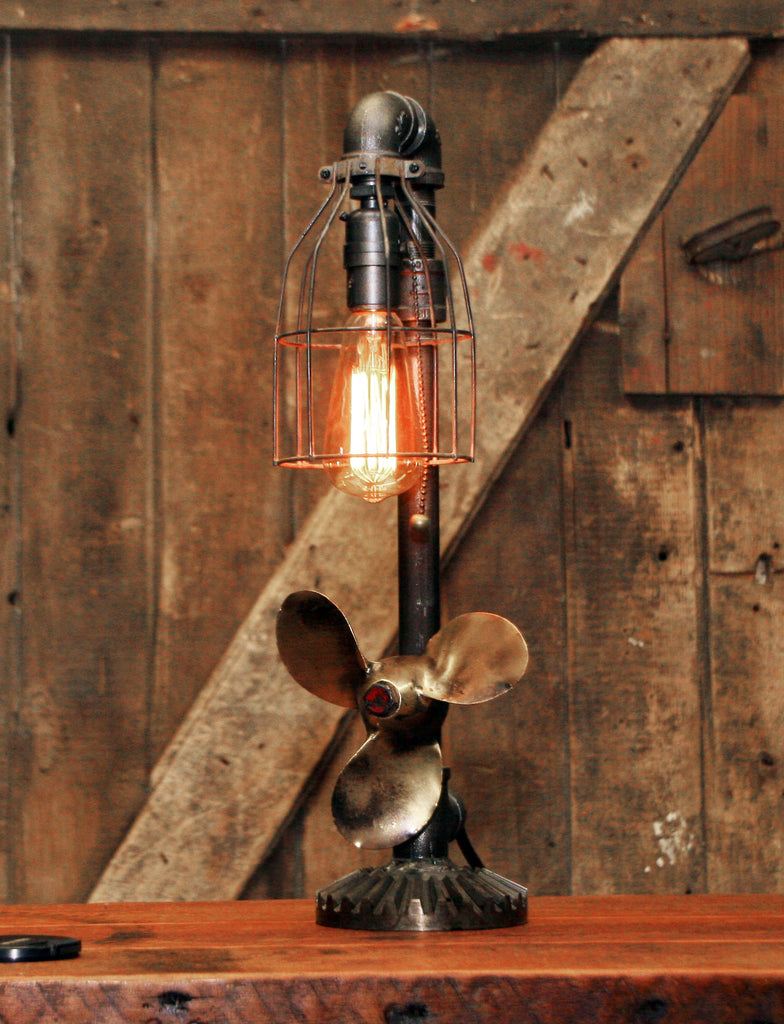 Steampunk Industrial Boat Marine Nautical Antique Brass Propeller Lamp, Gear Base #2680