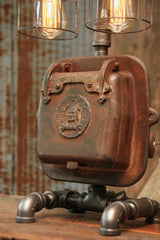 Steampunk Industrial Lamp / Indian  / Stove Door / Round Oak / #1519 sold