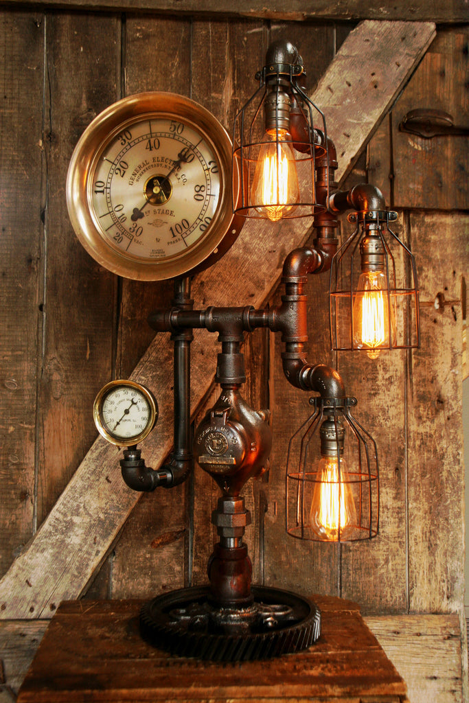 steampunk lamp amazing antique 10 steam gauge and gear base 419 s. Black Bedroom Furniture Sets. Home Design Ideas