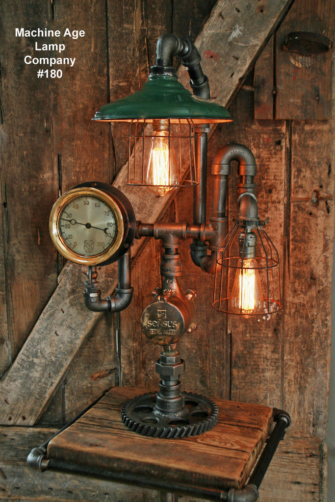 Steampunk Lamp, Antique Steam Gauge and Service Station Shade #180 - S