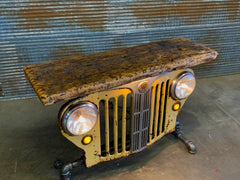 Steampunk Industrial / Original vintage 50's Jeep Willys Jeepster Grille / Automotive / Table Sofa Hallway / White / Table #2833