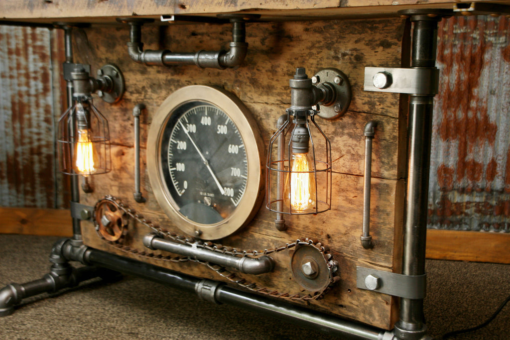 steampunk industrial table lamp stand console barn wood u0026 steam gauge