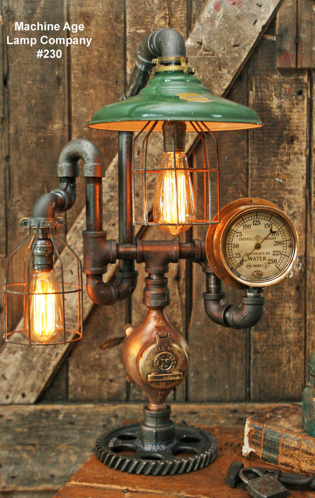 Steampunk Industrial Lamp, Steam Gauge  #230 - MTO
