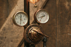 Steampunk Industrial Lamp / Antique Brass Chicago Regulator and Gauges / Lamp #1795 sold