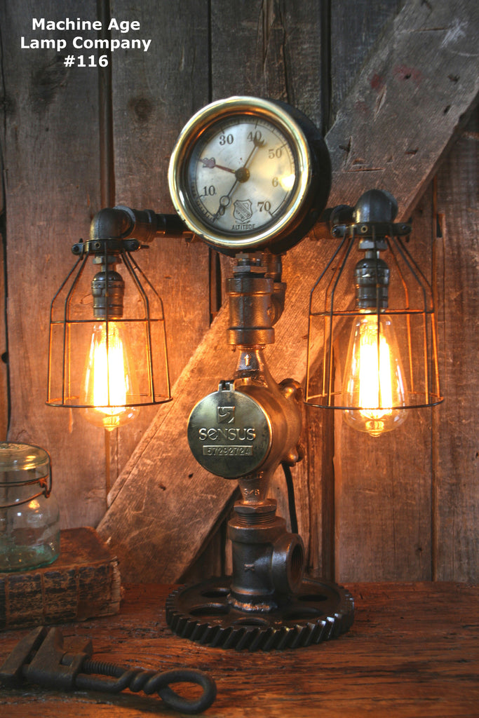 Steampunk Lamp, By Machine Age Lamps, Steam Gauge #116   SOLD