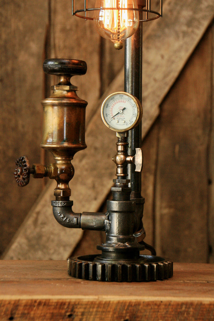 Steampunk Industrial Antique Brass Oiler Gauge Lamp 850