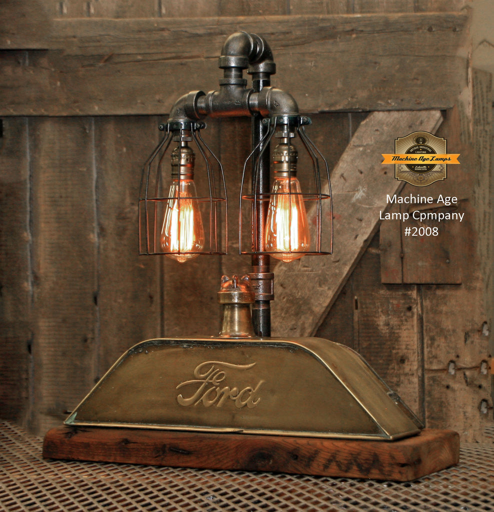 "Steampounk Industrial / Antique Ford Model ""T"" Radiator Top / Barn Wood / Lamp #2008"