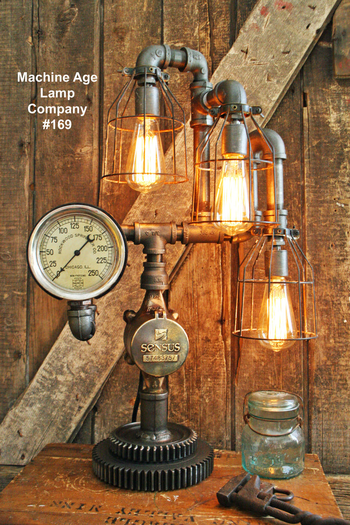 Steampunk Lamp, Antique Gear and Steam Gauge #169 MTO