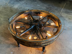 Steampunk Industrial / Antique Flat Belt Pulley Coffe Table / Lighting and Gauges / #2519