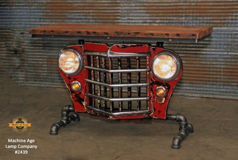 Steampunk Industrial / Original vintage 50's Jeep Willys Grille / Table Sofa Hallway / Table #2439