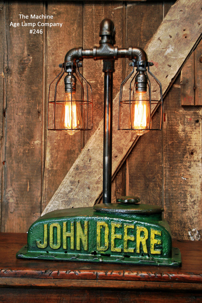 "Steampunk Industrial  Lamp, Antique John Deere Farm Tractor ""B""  - #246"