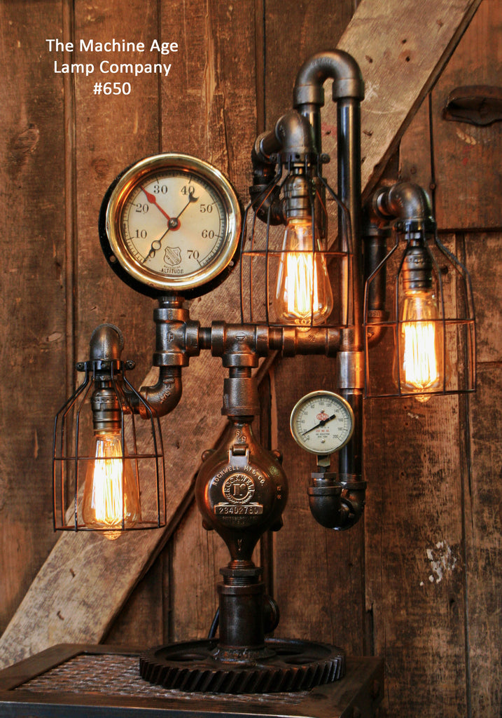 Steampunk Industrial Steam Gauge Lamp 650 Sold