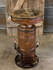 Antique Steampunk Industrial Table / Crescent Copper Heater / Table Stand / Flat Belt /  #2556