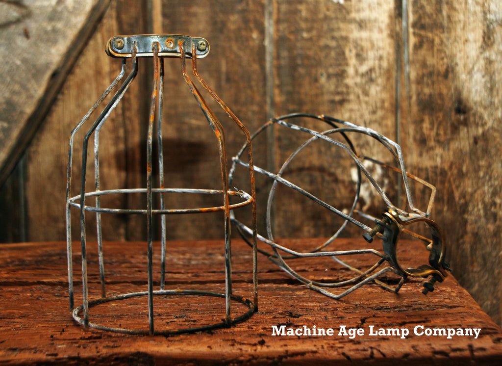Steampunk Industrial Antiqued Wire Cage Guard Light Lamp