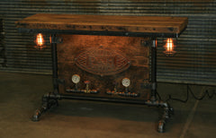 Steampunk Industrial / Barn Wood / Table / Console / Bar / Lighted / Table #2100
