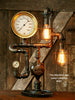 Steampunk Lamp, Antique Steam Gauge and Gear Base #547