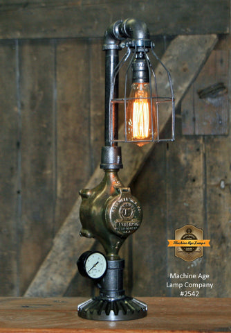 Steampunk Industrial Lamp / Antique Brass Meter and Gauge / Lamp #2542