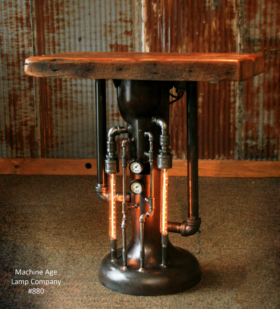 Industrial Light Stands: Steampunk Industrial Pipe Steam Gauge Lamp Stand Table