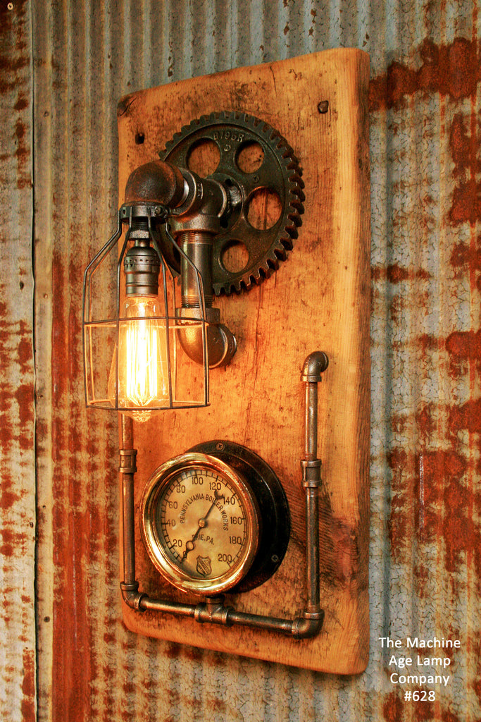 Steampunk Industrial Barn Wood Wall Sconce Steam Gauge