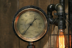 Steampunk Industrial Machine Age Lamp / Steam Gauge / Pittsburgh / Gear / Lamp #2221 sold