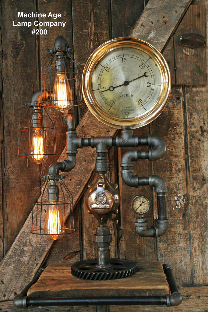 Steampunk Lamp, Steam Gauge and Gear Base #200 - SOLD