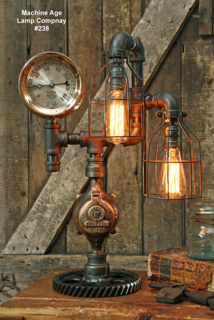 Steampunk Industrial Lamp, Steam Gauge #238 - SOLD